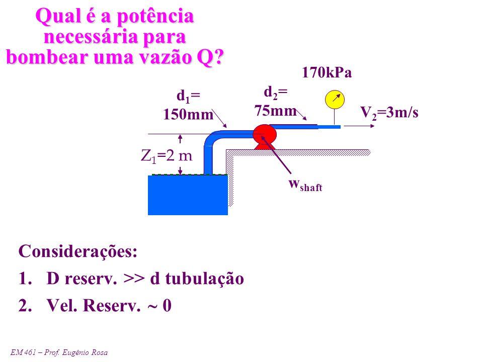 EM 461 – Prof. Eugênio Rosa Qual é a potência necessária para bombear uma vazão Q? Considerações: 1.D reserv. >> d tubulação 2.Vel. Reserv.  0 V ~ 0