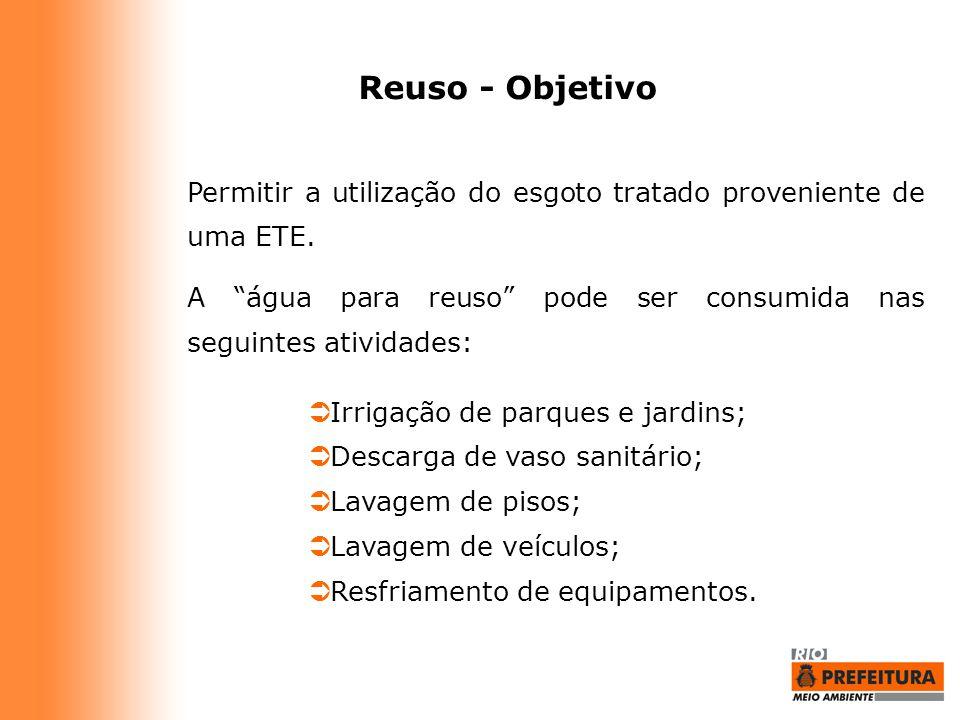 """Reuso - Objetivo Permitir a utilização do esgoto tratado proveniente de uma ETE. A """"água para reuso"""" pode ser consumida nas seguintes atividades:  Ir"""