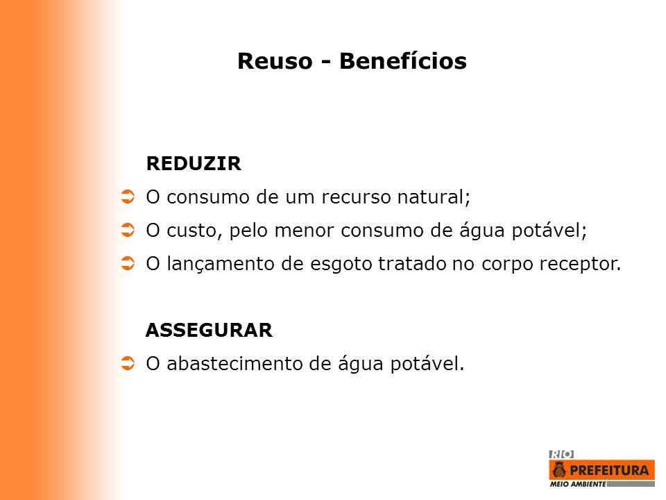 Reuso - Benefícios REDUZIR  O consumo de um recurso natural;  O custo, pelo menor consumo de água potável;  O lançamento de esgoto tratado no corpo