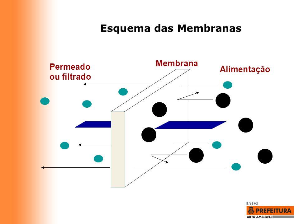 Permeado ou filtrado Alimentação Membrana Esquema das Membranas