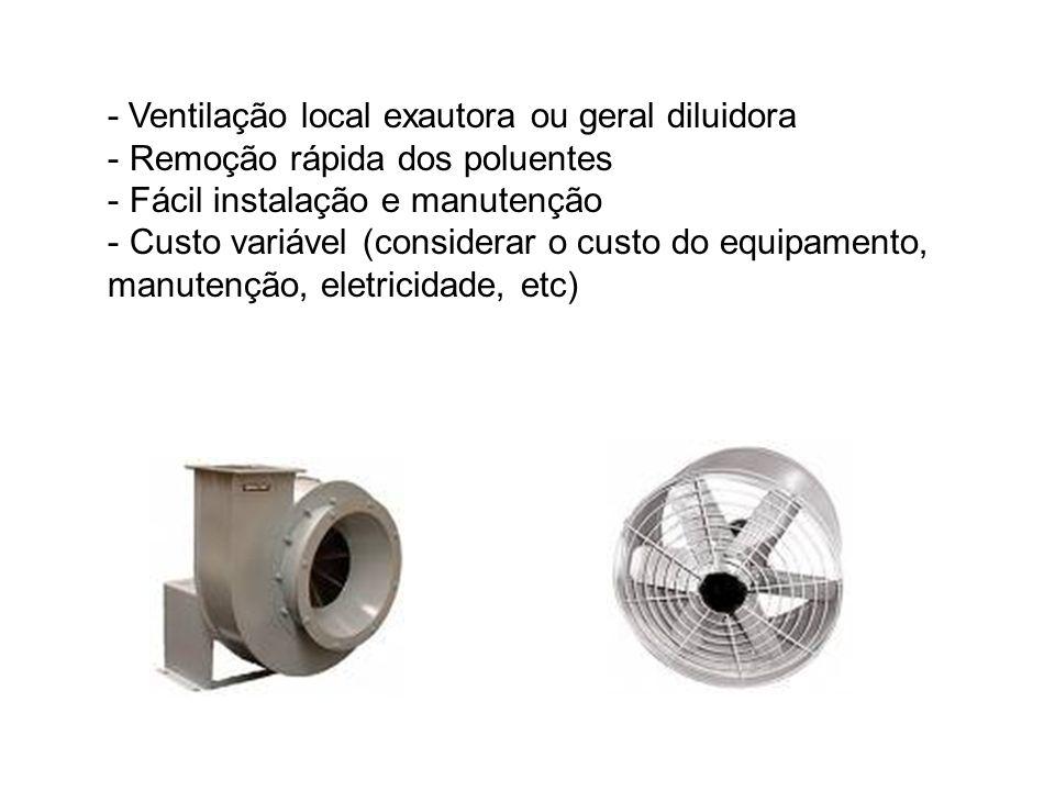 - Ventilação local exautora ou geral diluidora - Remoção rápida dos poluentes - Fácil instalação e manutenção - Custo variável (considerar o custo do equipamento, manutenção, eletricidade, etc)
