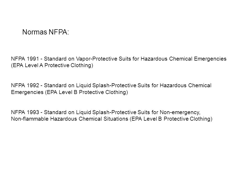 NFPA 1991 - Standard on Vapor-Protective Suits for Hazardous Chemical Emergencies (EPA Level A Protective Clothing) NFPA 1992 - Standard on Liquid Spl