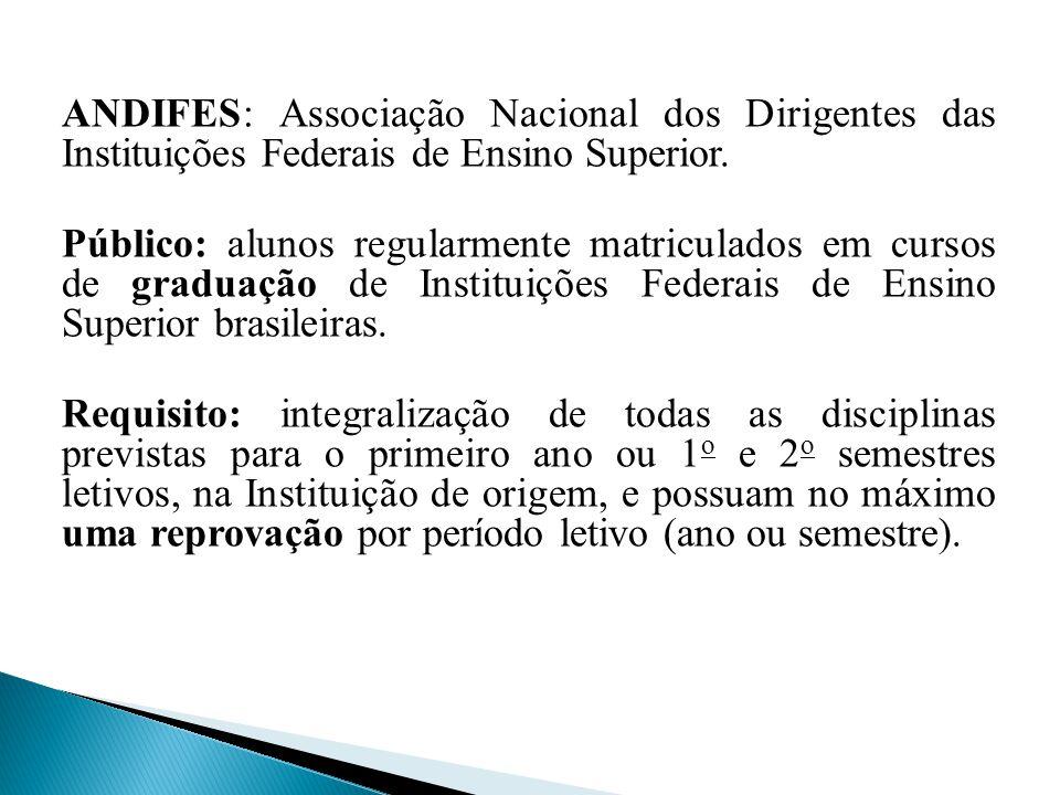 ANDIFES: Associação Nacional dos Dirigentes das Instituições Federais de Ensino Superior. Público: alunos regularmente matriculados em cursos de gradu