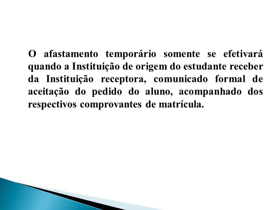 O afastamento temporário somente se efetivará quando a Instituição de origem do estudante receber da Instituição receptora, comunicado formal de aceit