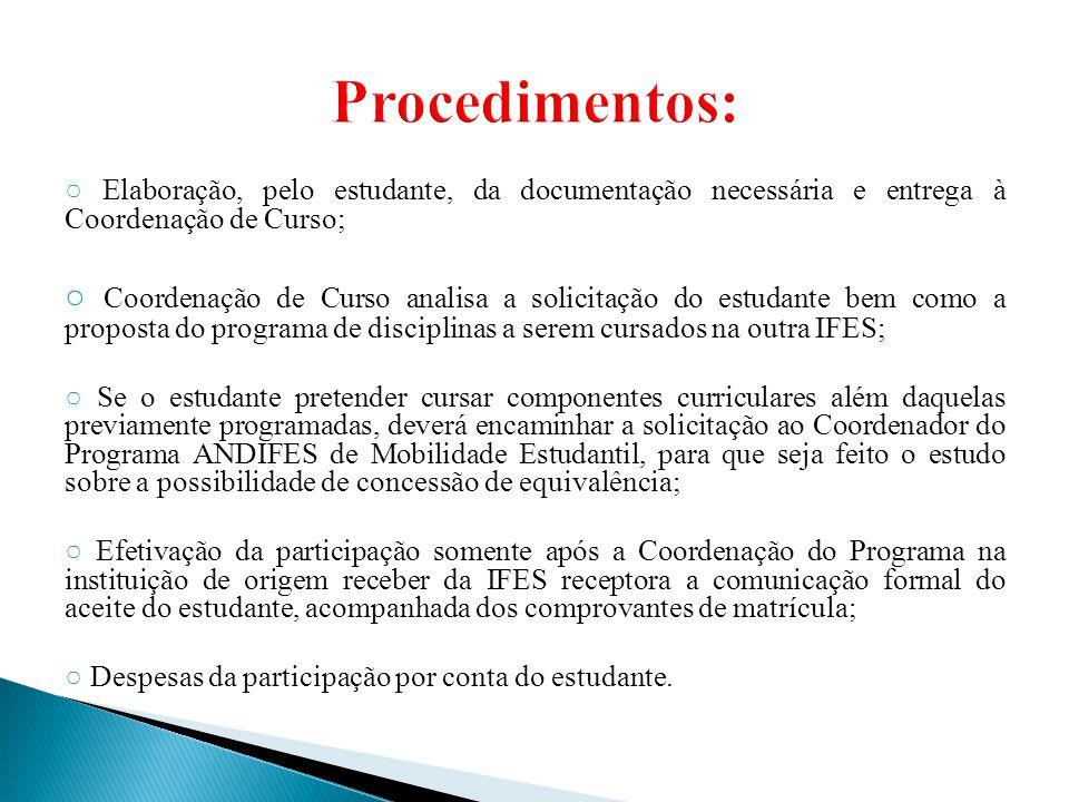 ○ Elaboração, pelo estudante, da documentação necessária e entrega à Coordenação de Curso; ○ Coordenação de Curso analisa a solicitação do estudante b