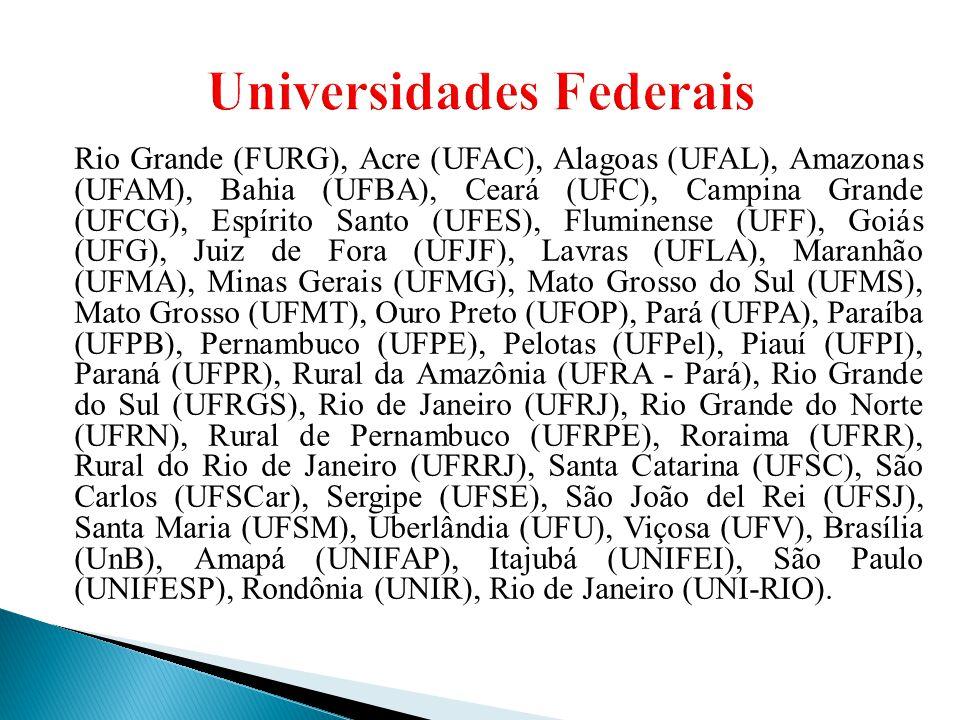 Rio Grande (FURG), Acre (UFAC), Alagoas (UFAL), Amazonas (UFAM), Bahia (UFBA), Ceará (UFC), Campina Grande (UFCG), Espírito Santo (UFES), Fluminense (