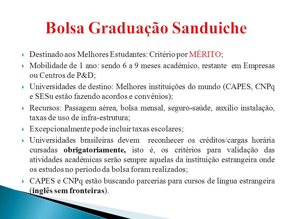  Destinado aos Melhores Estudantes: Critério por MÉRITO;  Mobilidade de 1 ano: sendo 6 a 9 meses acadêmico, restante em Empresas ou Centros de P&D;