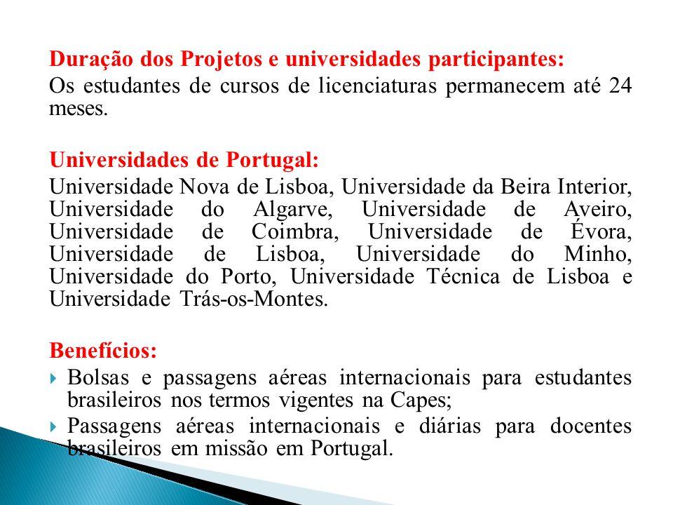 Duração dos Projetos e universidades participantes: Os estudantes de cursos de licenciaturas permanecem até 24 meses. Universidades de Portugal: Unive