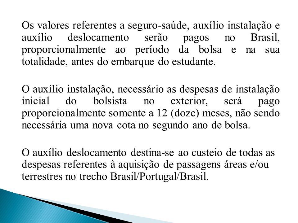 Os valores referentes a seguro-saúde, auxílio instalação e auxílio deslocamento serão pagos no Brasil, proporcionalmente ao período da bolsa e na sua