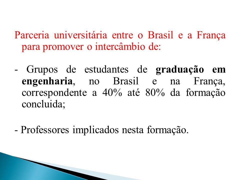 Parceria universitária entre o Brasil e a França para promover o intercâmbio de: - Grupos de estudantes de graduação em engenharia, no Brasil e na Fra
