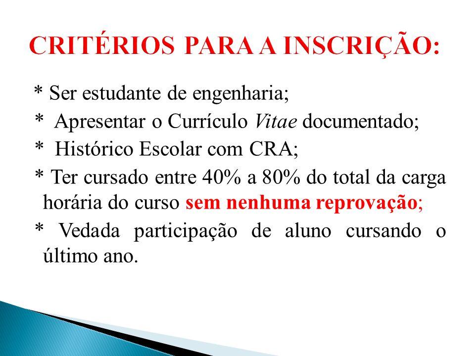 * Ser estudante de engenharia; * Apresentar o Currículo Vitae documentado; * Histórico Escolar com CRA; * Ter cursado entre 40% a 80% do total da carg