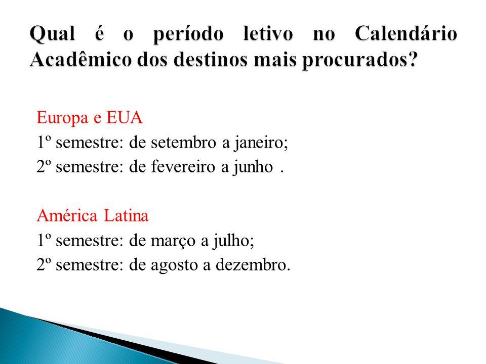 Europa e EUA 1º semestre: de setembro a janeiro; 2º semestre: de fevereiro a junho. América Latina 1º semestre: de março a julho; 2º semestre: de agos
