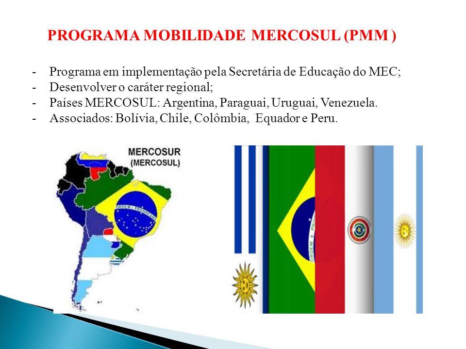 PROGRAMA MOBILIDADE MERCOSUL (PMM ) -Programa em implementação pela Secretária de Educação do MEC; -Desenvolver o caráter regional; -Países MERCOSUL: