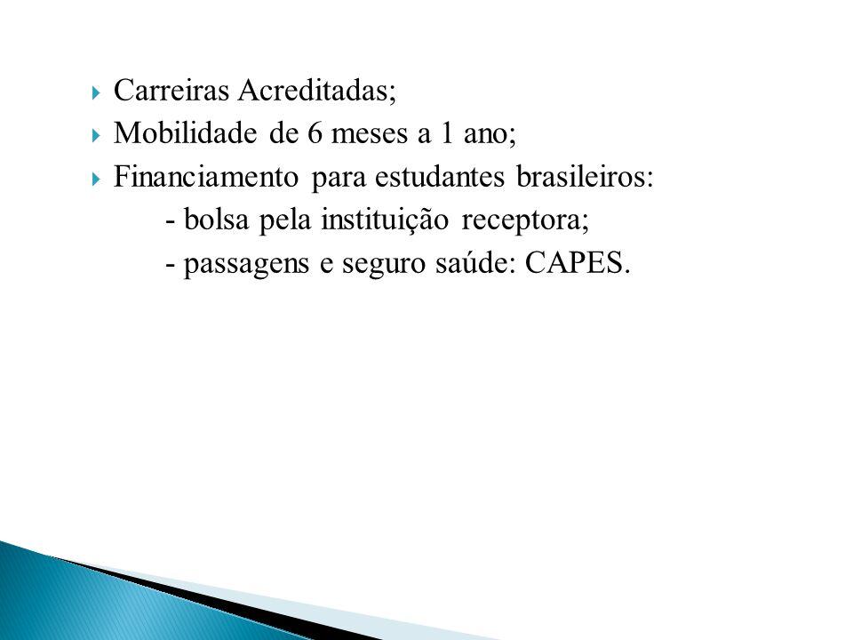  Carreiras Acreditadas;  Mobilidade de 6 meses a 1 ano;  Financiamento para estudantes brasileiros: - bolsa pela instituição receptora; - passagens