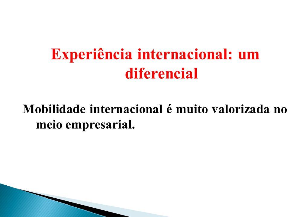 Experiência internacional: um diferencial Mobilidade internacional é muito valorizada no meio empresarial.