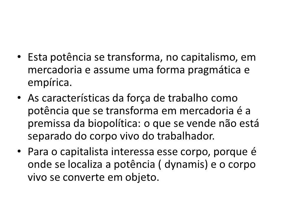 Esta potência se transforma, no capitalismo, em mercadoria e assume uma forma pragmática e empírica.