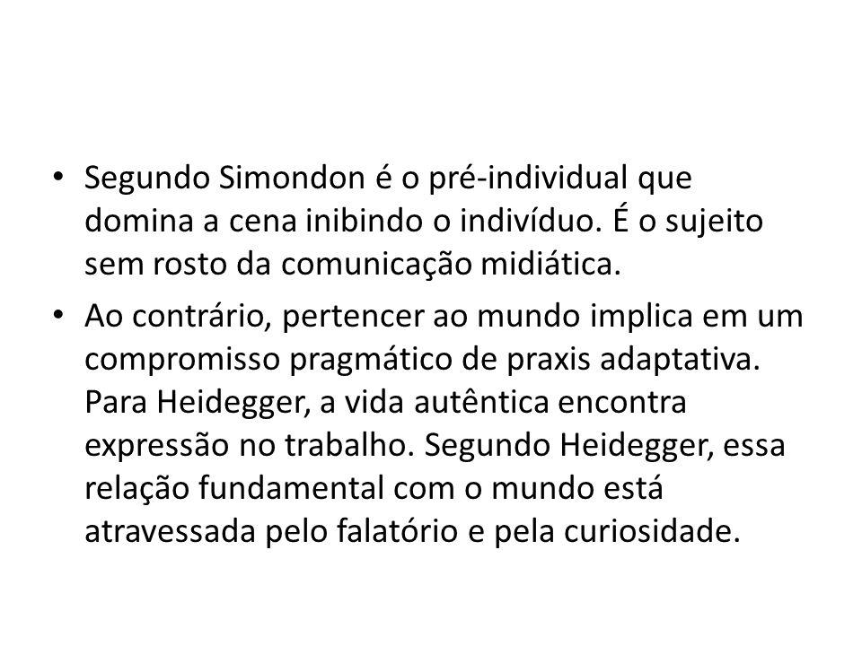 Segundo Simondon é o pré-individual que domina a cena inibindo o indivíduo.