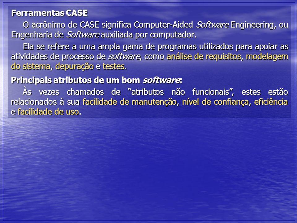 Ferramentas CASE O acrônimo de CASE significa Computer-Aided Software Engineering, ou Engenharia de Software auxiliada por computador. Ela se refere a