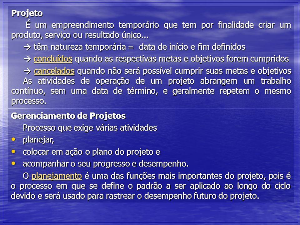 Projeto É um empreendimento temporário que tem por finalidade criar um produto, serviço ou resultado único... É um empreendimento temporário que tem p