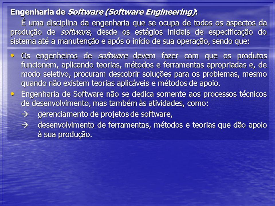 Engenharia de Software (Software Engineering): É uma disciplina da engenharia que se ocupa de todos os aspectos da produção de software, desde os está