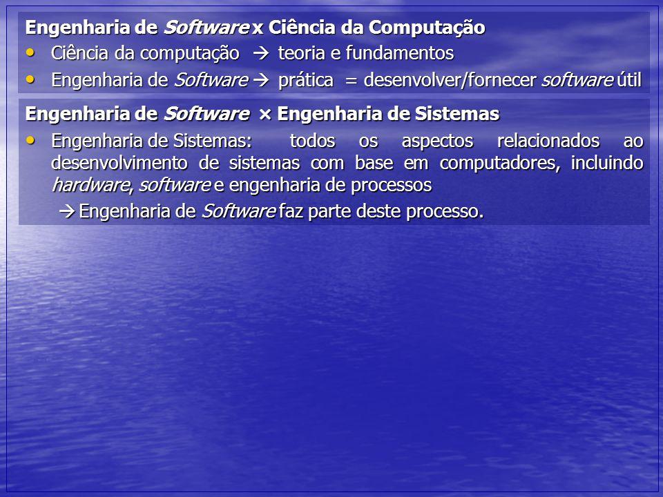 Engenharia de Software x Ciência da Computação Ciência da computação  teoria e fundamentos Ciência da computação  teoria e fundamentos Engenharia de