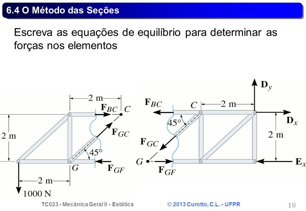 TC023 - Mecânica Geral II - Estática © 2013 Curotto, C.L. - UFPR 10 6.4 O Método das Seções Escreva as equações de equilíbrio para determinar as força