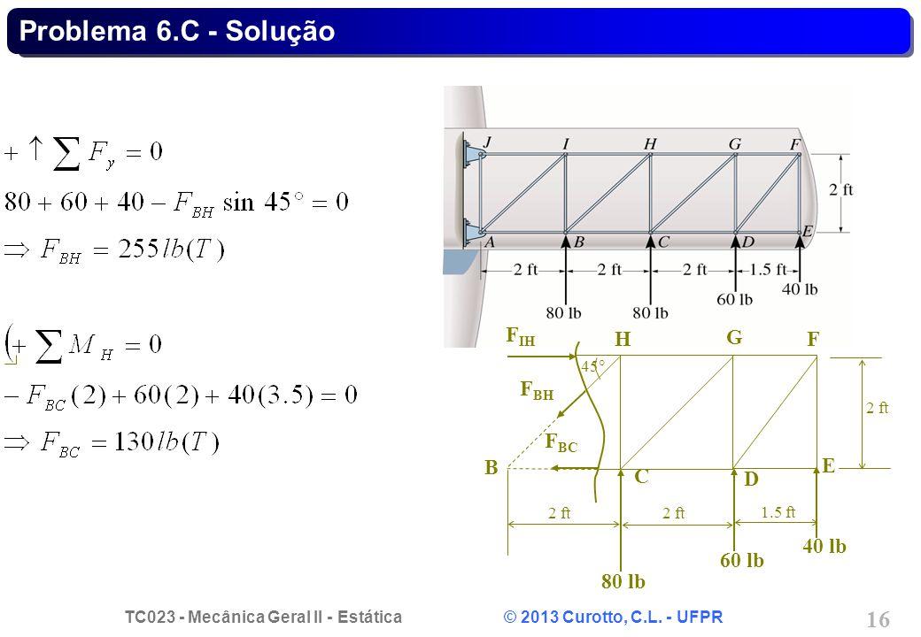 TC023 - Mecânica Geral II - Estática © 2013 Curotto, C.L. - UFPR 16 Problema 6.C - Solução B C D E F G H 80 lb 40 lb 60 lb 2 ft 1.5 ft 45  F IH F BH