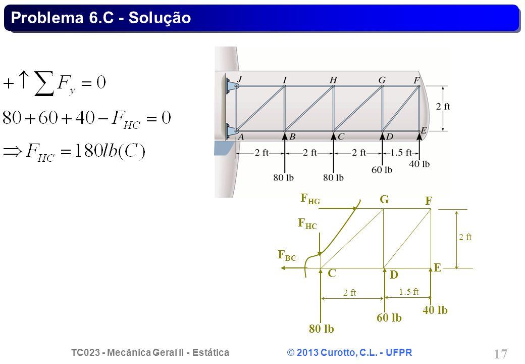 TC023 - Mecânica Geral II - Estática © 2013 Curotto, C.L. - UFPR 17 Problema 6.C - Solução C D E F G 80 lb 40 lb 60 lb 2 ft 1.5 ft F HG F HC F BC