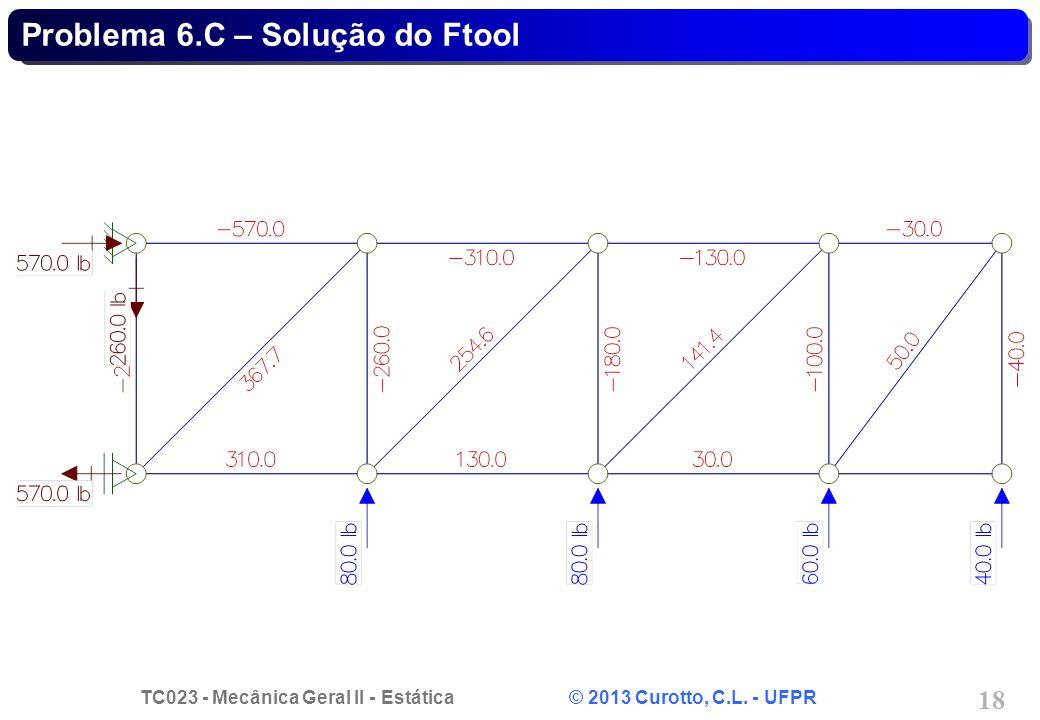 TC023 - Mecânica Geral II - Estática © 2013 Curotto, C.L. - UFPR 18 Problema 6.C – Solução do Ftool