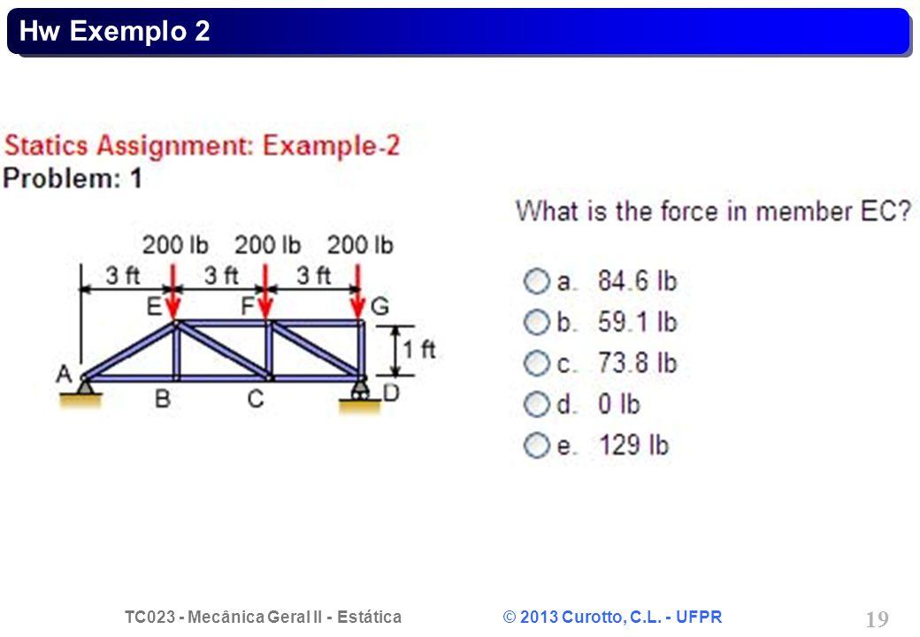 TC023 - Mecânica Geral II - Estática © 2013 Curotto, C.L. - UFPR 19 Hw Exemplo 2
