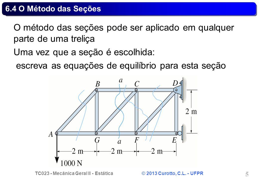 TC023 - Mecânica Geral II - Estática © 2013 Curotto, C.L. - UFPR 5 6.4 O Método das Seções O método das seções pode ser aplicado em qualquer parte de