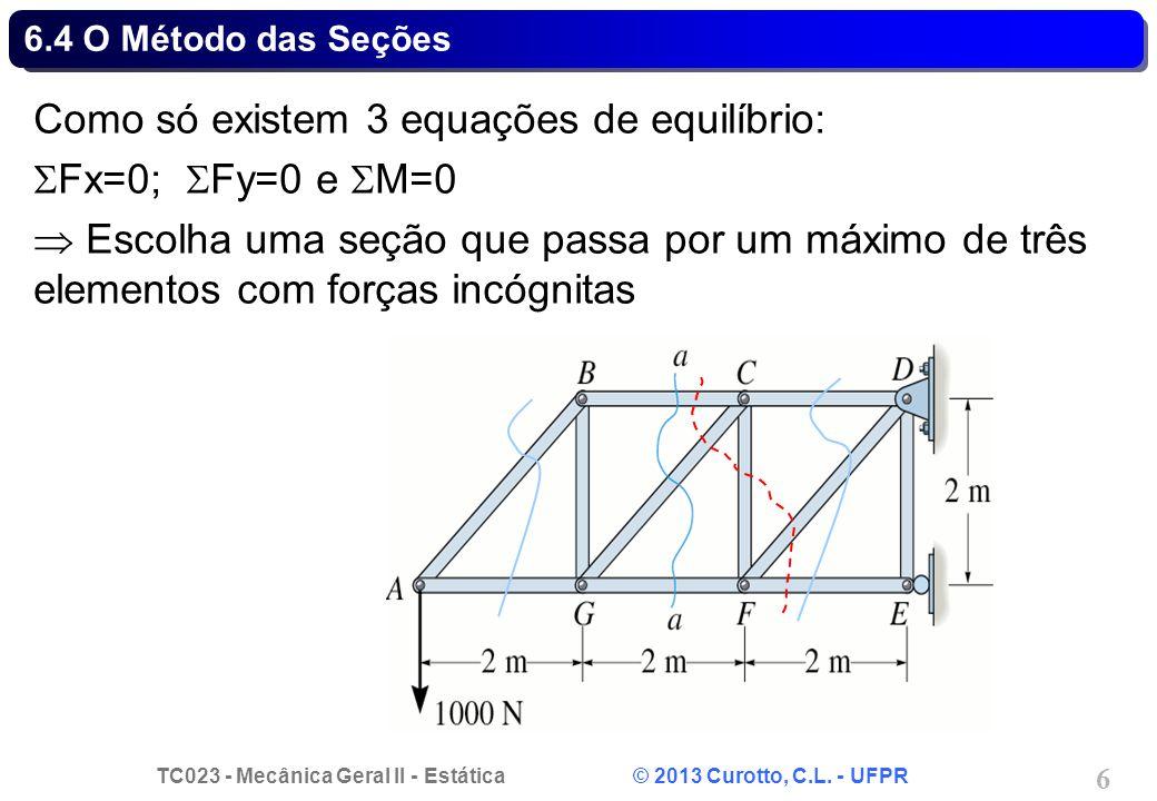TC023 - Mecânica Geral II - Estática © 2013 Curotto, C.L. - UFPR 6 6.4 O Método das Seções Como só existem 3 equações de equilíbrio:  Fx=0;  Fy=0 e