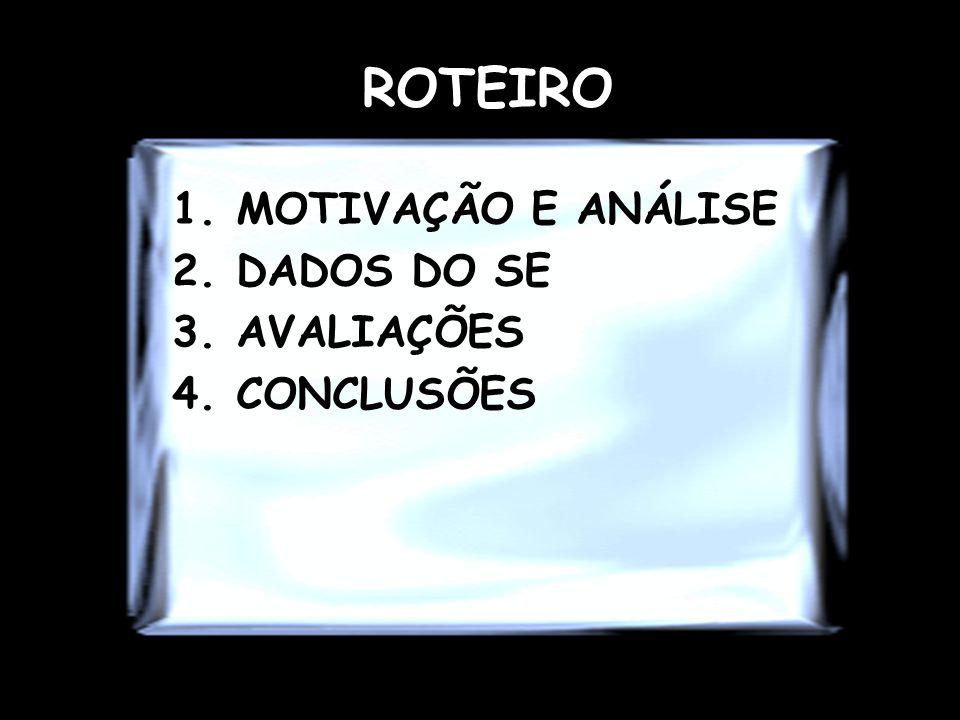 ROTEIRO 1.MOTIVAÇÃO E ANÁLISE 2.DADOS DO SE 3.AVALIAÇÕES 4.CONCLUSÕES