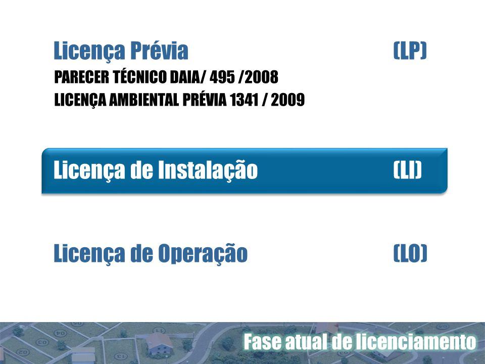 Licença Prévia(LP) Licença de Instalação (LI) Licença de Operação (LO) PARECER TÉCNICO DAIA/ 495 /2008 LICENÇA AMBIENTAL PRÉVIA 1341 / 2009