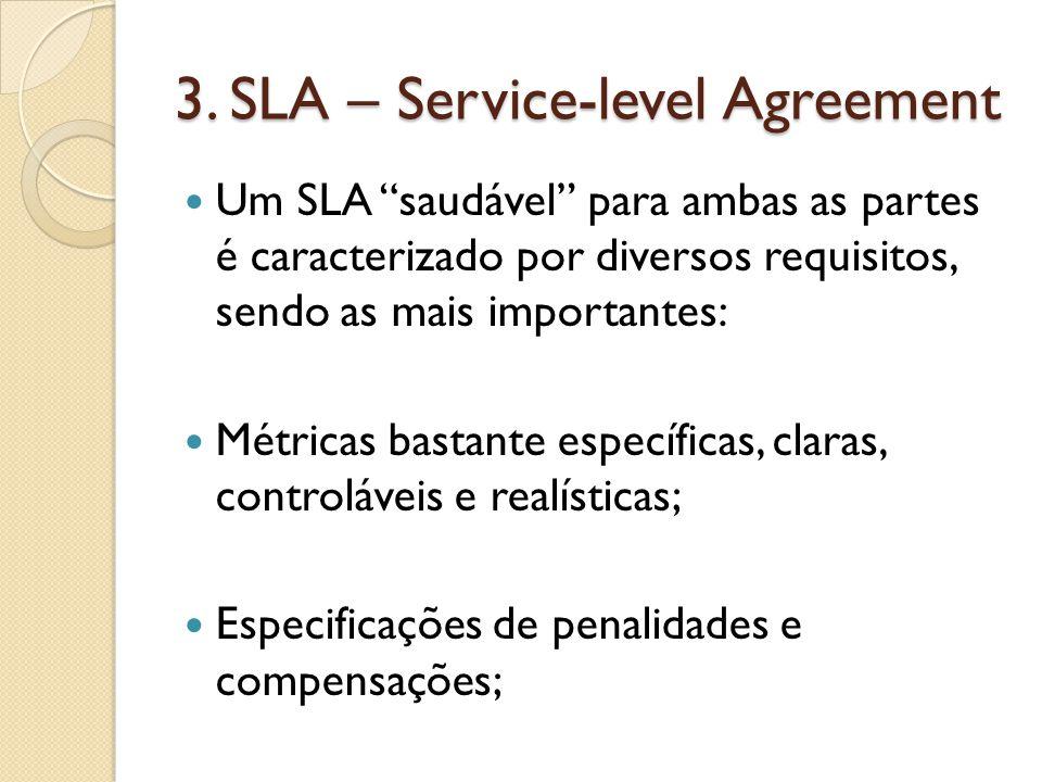 """3. SLA – Service-level Agreement Um SLA """"saudável"""" para ambas as partes é caracterizado por diversos requisitos, sendo as mais importantes: Métricas b"""