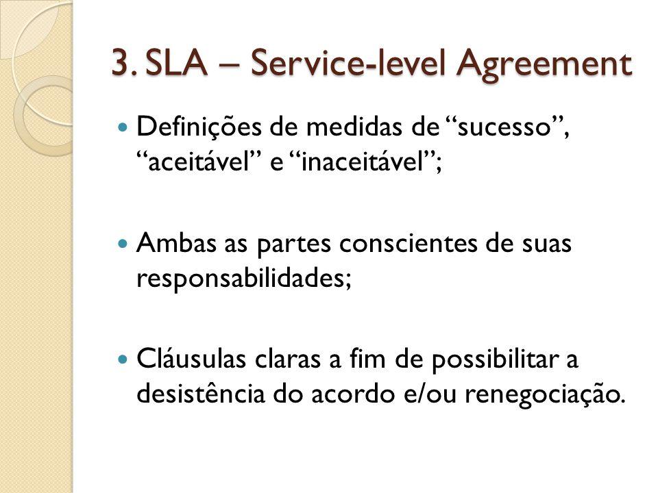 """3. SLA – Service-level Agreement Definições de medidas de """"sucesso"""", """"aceitável"""" e """"inaceitável""""; Ambas as partes conscientes de suas responsabilidade"""