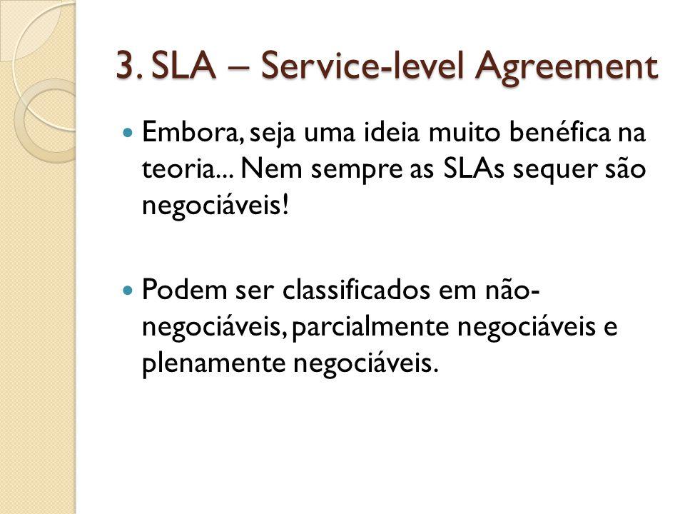 3. SLA – Service-level Agreement Embora, seja uma ideia muito benéfica na teoria...