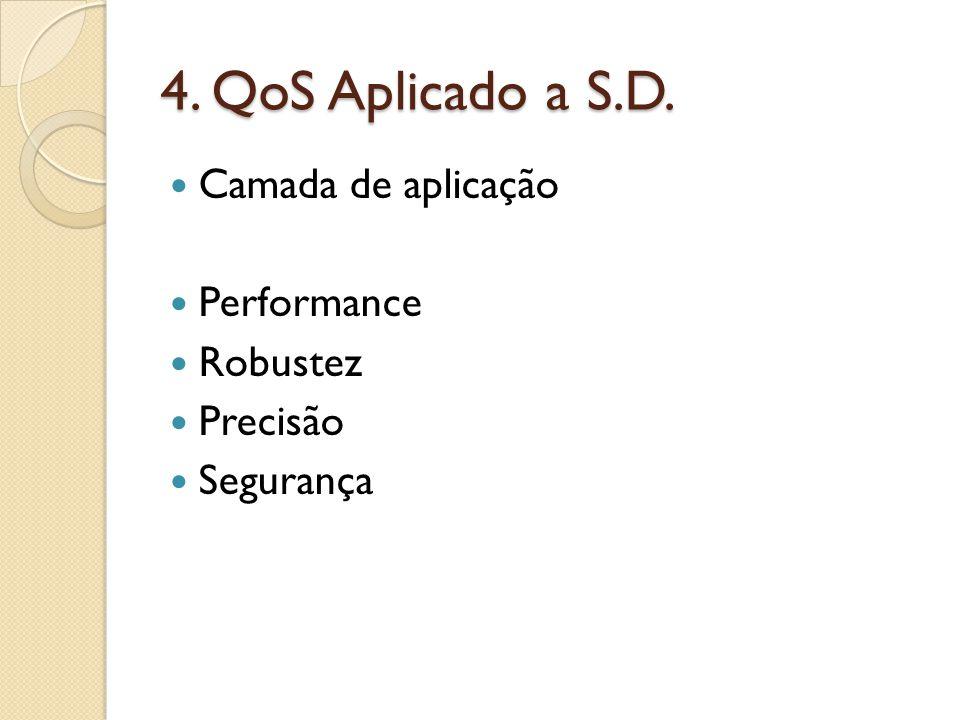 4. QoS Aplicado a S.D. Camada de aplicação Performance Robustez Precisão Segurança