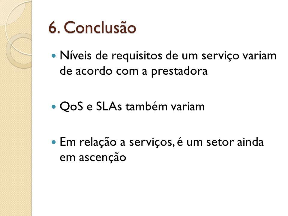 6. Conclusão Níveis de requisitos de um serviço variam de acordo com a prestadora QoS e SLAs também variam Em relação a serviços, é um setor ainda em