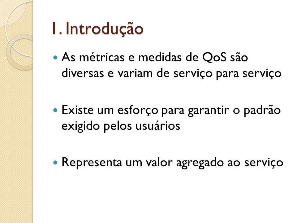 1. Introdução As métricas e medidas de QoS são diversas e variam de serviço para serviço Existe um esforço para garantir o padrão exigido pelos usuári