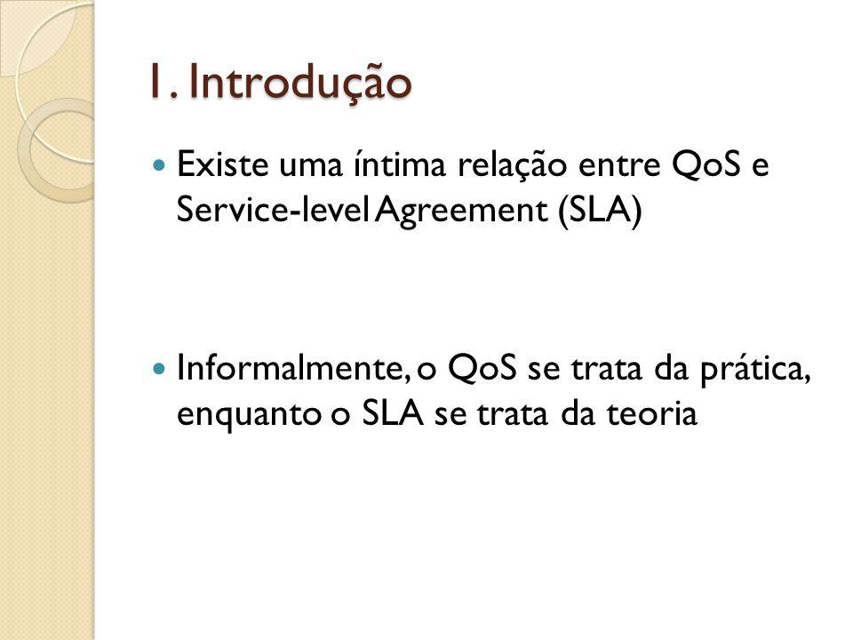 1. Introdução Existe uma íntima relação entre QoS e Service-level Agreement (SLA) Informalmente, o QoS se trata da prática, enquanto o SLA se trata da
