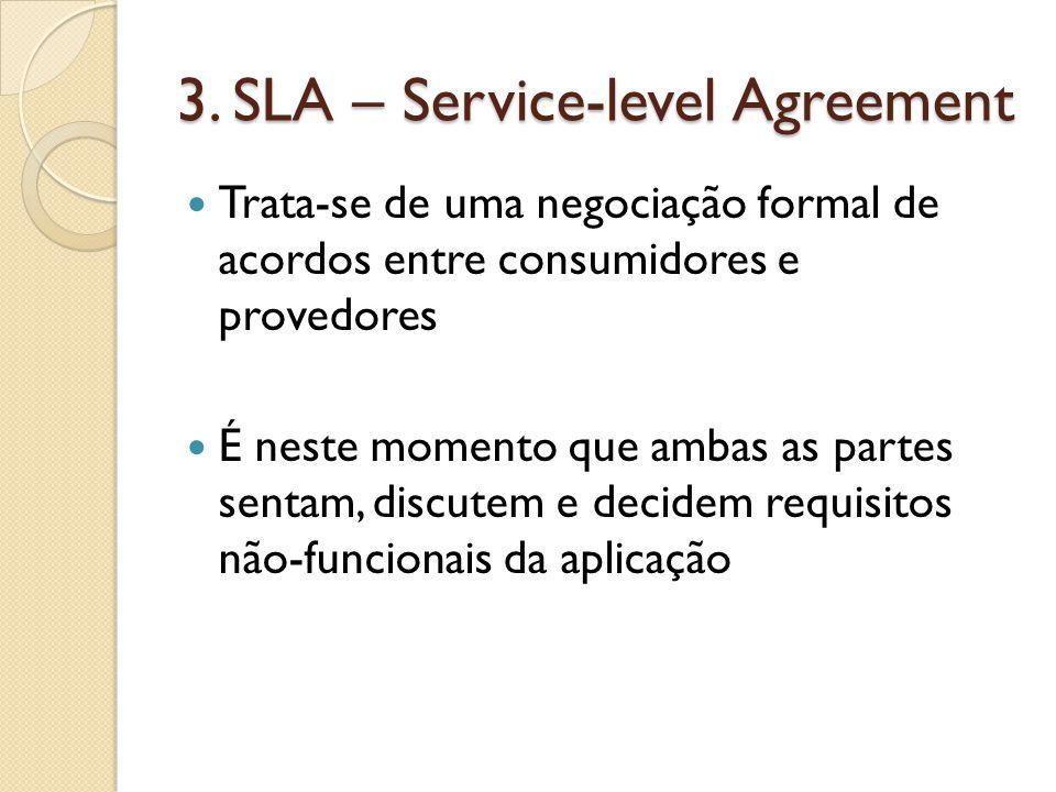 3. SLA – Service-level Agreement Trata-se de uma negociação formal de acordos entre consumidores e provedores É neste momento que ambas as partes sent