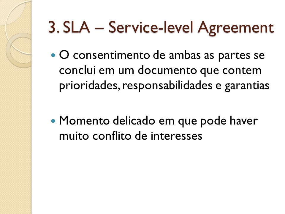 3. SLA – Service-level Agreement O consentimento de ambas as partes se conclui em um documento que contem prioridades, responsabilidades e garantias M