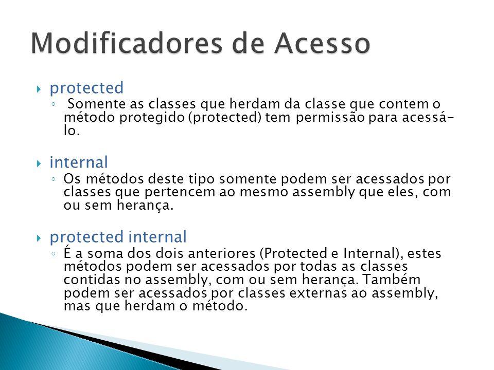  protected ◦ Somente as classes que herdam da classe que contem o método protegido (protected) tem permissão para acessá- lo.  internal ◦ Os métodos