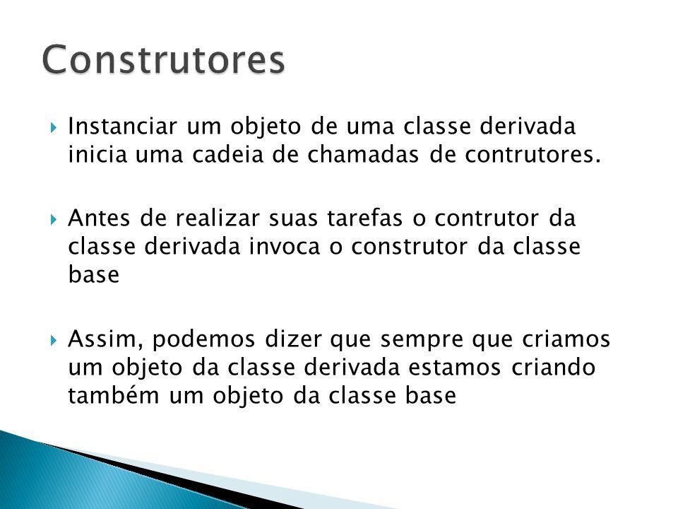  Instanciar um objeto de uma classe derivada inicia uma cadeia de chamadas de contrutores.  Antes de realizar suas tarefas o contrutor da classe der