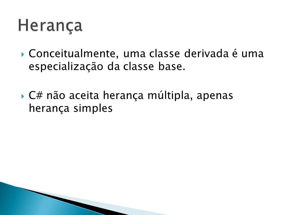  Conceitualmente, uma classe derivada é uma especialização da classe base.  C# não aceita herança múltipla, apenas herança simples