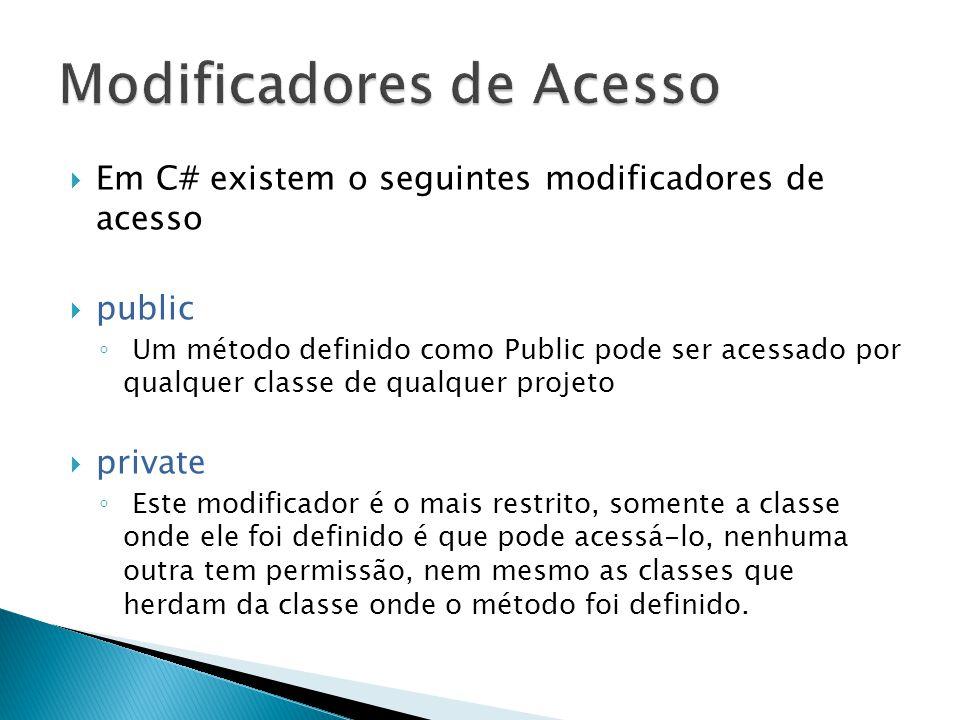 Em C# existem o seguintes modificadores de acesso  public ◦ Um método definido como Public pode ser acessado por qualquer classe de qualquer projet