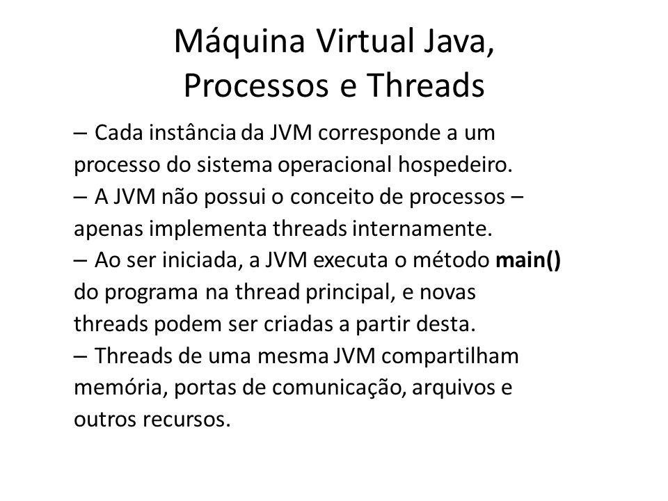 Máquina Virtual Java, Processos e Threads – Cada instância da JVM corresponde a um processo do sistema operacional hospedeiro. – A JVM não possui o co
