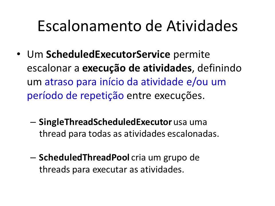 Escalonamento de Atividades Um ScheduledExecutorService permite escalonar a execução de atividades, definindo um atraso para início da atividade e/ou um período de repetição entre execuções.