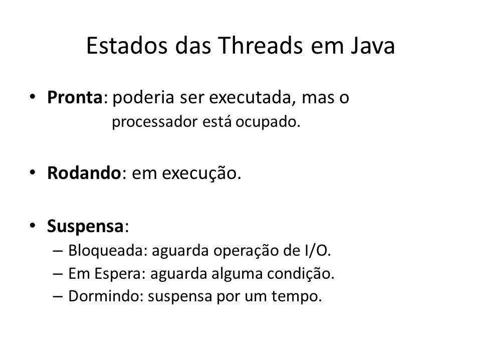 Estados das Threads em Java Pronta: poderia ser executada, mas o processador está ocupado.